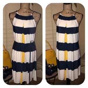 NWOT Maggy London Yellow & Blue Striped Dress Sz14